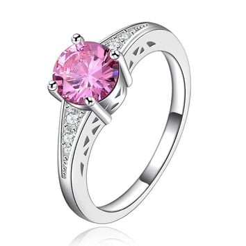 Fashion ring Vintage Rings for women engagement bijoux for lady pink stone fashion wedding bague Accessories R126