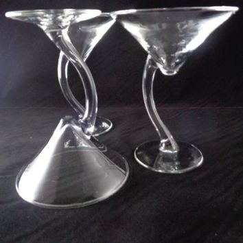 Martini Glasses With Curved Stem  S/3