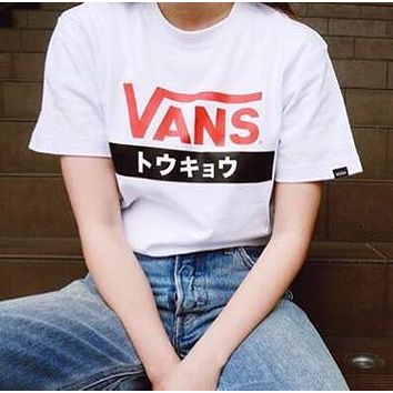 VANS Fashion Women Men Loose Letter Print Short Sleeve Round Collar T-Shirt Pullover Top White I12664-1