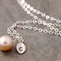 Personalized Pearl Necklace - mother of the bride, personalized jewelry, initial necklace, bridesmaid necklace, silver necklace, N15-2