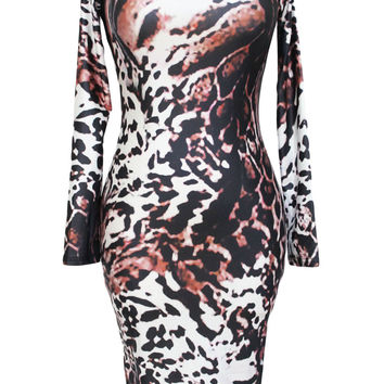 Sexy Party Long Sleeves Leopard Print Dress