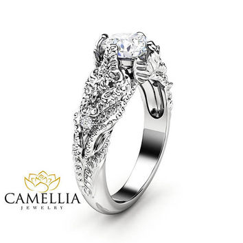 Art Nouveau Moissanite Engagement Ring 14K White Gold Wedding Ring Nature Inspired Engagement Ring