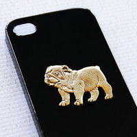 Bulldog Sleek Design Gold Plated Black iPhone4 and 4s Apple Cell Phone Shell iPhone 6 Case iPhone 6 Plus Covers Protectors Dog Gold