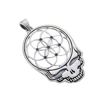 Grateful Dead ~ Sterling Silver Seed of Life Steal Your Face Pendant with Blue Sapphires ~ Sacred Geometry