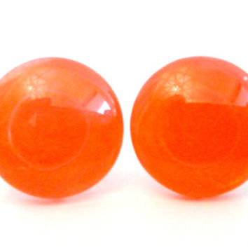 Bright Tangerine Orange Round Glass Cabochon Stud Earrings
