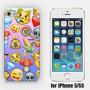 for iPhone 5/5S - Money Diamond Mushroom Corn Crown Fries Candy Cat Alien Emoji - Smiley - Emoticon - Ship from Vietnam - US Registered Brand