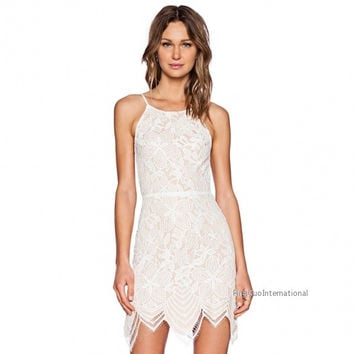 Women Fashion Sexy Casual High Waist Sleeveless Backless Hollow Lace Irregular Hem Solid Short Dress = 1838565188