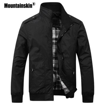 Mountainskin Men's Casual Jackets 4XL Fashion Male Solid Spring Coats Slim Fit Military Jacket Branded Men Outwears SA432
