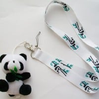 "6.5"" Cute Panda with Red Scarf Plush Mascot with Lanyard ~Key Cell Phone Holder~"