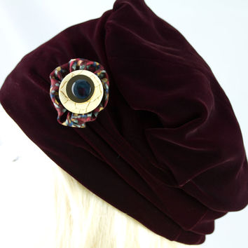 Velvet Cloche Hat for Women | Deep Burgundy Pillbox Hat | Softly Gathered Sides | XS to XXL
