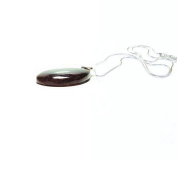 Dragons Vein Agate Pendant Necklace ,  Sterling Silver  Dragons Vein Agate And Rose Quartz  Pendant