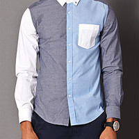 Colorblocked Chambray Shirt White/Blue