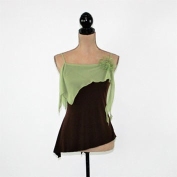 Dressy Top Women XS Small Summer Top Spaghetti Strap Boho Top Party Club Top Asymmetrical Brown Green Vintage Clothing Womens Clothing