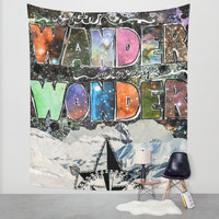 Often Wander Always Wonder Wall Tapestry by Jenndalyn