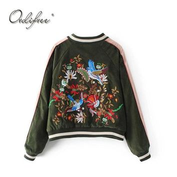 Ordifree 2017 Luxury Women Bomber Jacket Floral Embroidery Baseball Jacket Coat Outwear Birds Embroidered Basic Jackets
