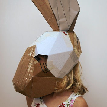 Make a child's Hare or Rabbit mask from recycled card