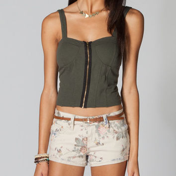 Full Tilt Womens Zip Corset Top Olive  In Sizes