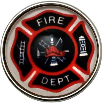 Fire Department Snap Charm 20mm for Snap Jewelry