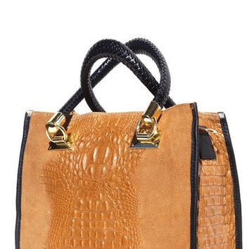 OPEN TOTE BAG IN EMBOSSED CROCODILE PATENT CALF-LEATHER