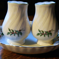 Vintage Christmas Holly Decorated Salt & Pepper Shakers with Matching Candy Dish
