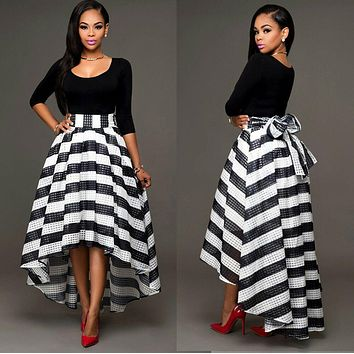 Womens O-Neck Striped Long Formal Prom Dress Party Ball Gown Evening Dress