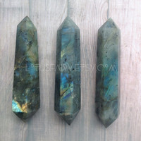 Labradorite Crystal Gemstone wand, double terminated, reiki, healing, wiccan tools
