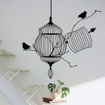 3d Birds cage & tree branch creative modern pvc wall sticker removable waterproofing home wall living room ZY8231 home decor