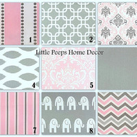 """Baby Pink, Gray Pillows Throw Pillows 20"""" Nursery Decor Decorator Pillow COVERS 20 inch Designer Fabric FRONT and BACK Mix & Match"""