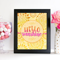 Hello Sunshine Printable Art, Bright and Cheerful Art, Sunny Summer Printable, Yellow and Pink Art, Children's Printable, Instant Download