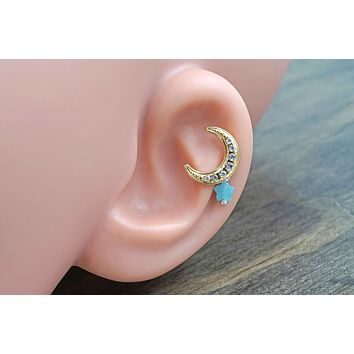 Gold Moon and Star Cartilage Earring