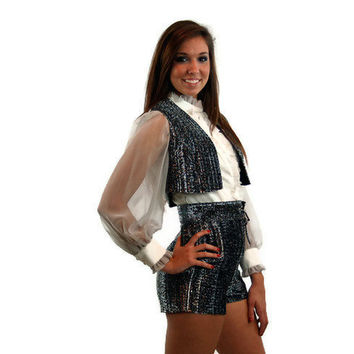 1970s hot pants, hot pants and vest, metallic silver, silver lurex, one piece romper, short shorts, gogo girl