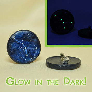 Cancer Pinback Button, GLOW in the DARK, Constellations, Zodiac, Horoscope, Astrology, Astronomy, Jun 22 - July 22, The Crab, The Stars
