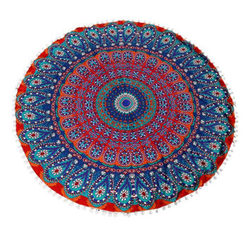 Festival Large Mandala Floor Pillows Round Bohemian Meditation Cushion Cover Ottoman Pouf