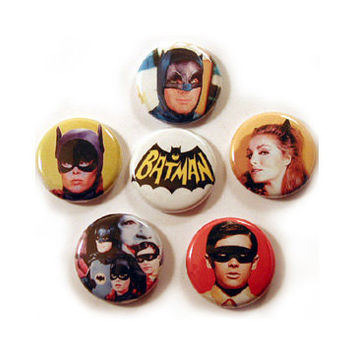 "BATMAN TV SHOW 1"" pinback button set (Adam West, Batgirl, Yvonne Craig, Julie Newmar, Robin)"