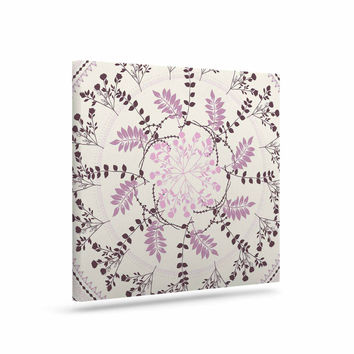 "Famenxt ""Pinkish Madellion"" Black Abstract Canvas Art"