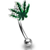 16g Surgical Steel Eyebrow Ring Body Jewelry Piercing with Green Pot Leaf 16 Gauge 3/8""