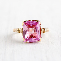 Antique 10k Yellow Gold Pink Sapphire Ring - Size 4 1/2 Art Deco 1930s Fine Jewelry / Floral Shoulderes