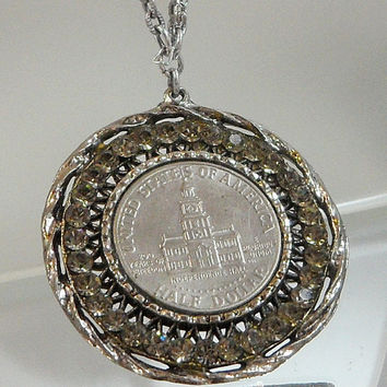 Vintage Half Dollar Necklace. Kennedy 50 cents. Independence Hall. 1776 to 1976 Commemorative Coin. Gray Rhinestones.