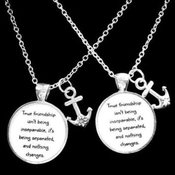 2 Necklaces Anchor True Friendship Long Distance Best Friends Bff Set