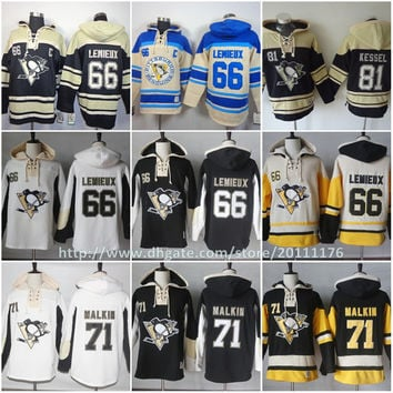 Pittsburgh Penguins Hoodies #66 Mario Lemieux 71 Evgeni Malkin 81 Phil Kessel Sweatshirts Stitched Authentic Old Time Hockey Hoodies S-3XL