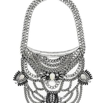 Women's BaubleBar 'Orwell' Bib Necklace - Grey/ Antique Silver