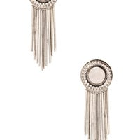Sam Edelman Fringe Disc Earring in Rhodium