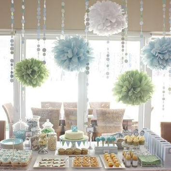 Tissue paper pom poms - 10 poms / 36 feet of garland - choose your colors