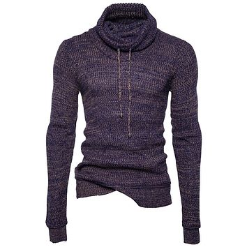 Pullover Men 2017 Male Brand Casual Slim Fit Knitted Sweaters Men Rope Solid Hedging Turteneck Heap Collar Men'S Sweater XXL