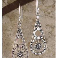 Sterling Silver Filigree Drop Earrings (Israel) | Overstock.com