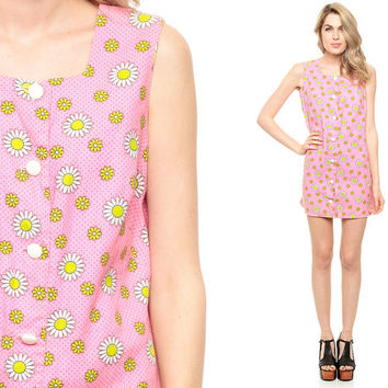 60s Mini Dress MOD Floral Pink Button Up Daisy Print Flower Power Vintage 1960s Shift Sleeveless Go Go Twiggy Sixties Minidress Medium