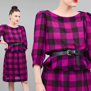 Vintage 80s Dress Checkered Buffalo Plaid Dress Blouson Peplum Waist Puff Sleeve Knee Length Dress Purple Black Small XS S