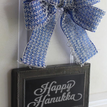 Hanukkah Door Hanging Chalkboard Sign - Happy Hanukkah Decoration - Write your own message - Blue and Silver Bow Wall hanging