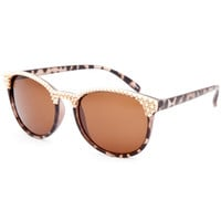 Full Tilt Gold Spike Cateye Sunglasses Tortoise One Size For Women 25709340101