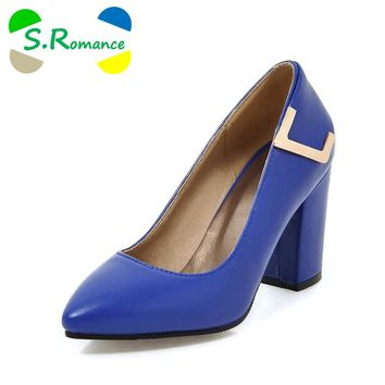 S.Romance Plus Size 34-43 Women Pumps Fashion Sexy Elegant Pointed Toe Square High Heel Woman Shoe Black Blue Gray Beige SH508